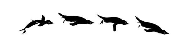 Silhueta ajustada da ilustração do vetor dos projetos do ícone do logotipo da caminhada do preto do pinguim ilustração royalty free