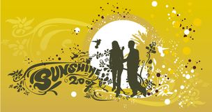 silhueta & verão de 2 amantes ilustração stock