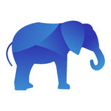 Silhueta animal do logotipo da selva do elefante selvagem do caráter geométrico do sumário do polígono e do jardim zoológico cria ilustração stock