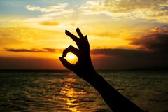 Silhueta aprovada do sinal da mão Fotos de Stock Royalty Free