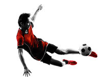 Silhueta asiática do homem novo de jogador de futebol Imagem de Stock Royalty Free
