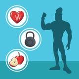 Silhueta atlética do esporte da dieta do homem saudável ilustração do vetor