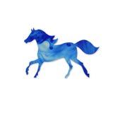 Silhueta azul do cavalo.  Silhueta running do cavalo. Nuvem da tinta mim Fotos de Stock Royalty Free