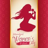 Silhueta bonita da mulher que cheira uma Rosa no dia das mulheres, ilustração do vetor ilustração royalty free