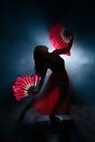 Silhueta bonita de uma menina que dança elegantemente no fumo e na névoa Imagem de Stock Royalty Free