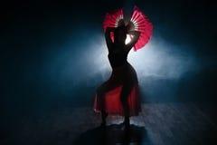 Silhueta bonita de uma menina que dança elegantemente no fumo e na névoa Imagem de Stock
