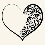 Silhueta bonita do coração com redemoinhos Fotografia de Stock