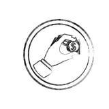 Silhueta borrada com o plano do ícone da moeda da inserção do sinal de aviso ilustração do vetor