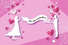 Silhueta branca de amantes românticos Queda no amor Forre corações estilo do corte do papel Dia feliz do Valentim Feriados românt ilustração stock