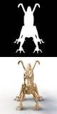 Silhueta branca de um dragão chinês em um fundo preto completamente ilustração do vetor