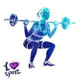 Silhueta brilhante da aquarela do mulheres com um barbell Ilustração do esporte do vetor ilustração do vetor