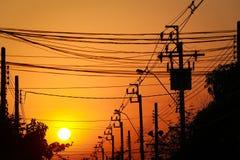 Silhueta, cargo da eletricidade Imagens de Stock