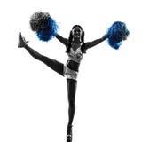 Silhueta cheerleading do líder da claque da jovem mulher Imagem de Stock Royalty Free