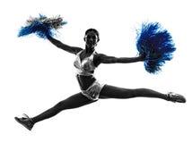 Silhueta cheerleading do líder da claque da jovem mulher Imagens de Stock