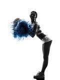 Silhueta cheerleading do líder da claque da jovem mulher Fotos de Stock Royalty Free