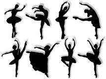 Silhueta clássica dos dançarinos Fotos de Stock Royalty Free
