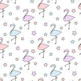 Silhueta colorida bonito dos flamingos com ilustração sem emenda do fundo do teste padrão das estrelas Fotos de Stock