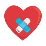 Silhueta colorida com coração com curativo cruzado Fotos de Stock