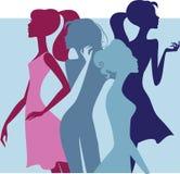 Silhueta colorida de meninas da forma ilustração stock