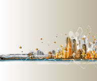 Silhueta colorida do panorama da cidade Foto de Stock Royalty Free