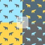 Silhueta colorida dos elefantes ilustração stock