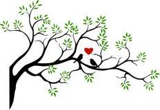 Silhueta da árvore com pássaro Fotografia de Stock Royalty Free