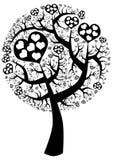Silhueta da árvore de amor do ponto Foto de Stock