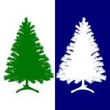 Silhueta da árvore verde e branca, de Natal, em um azul e em um whi ilustração royalty free