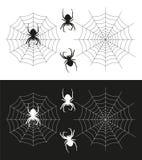 Silhueta da aranha e uma ilustração da Web de aranha Imagens de Stock Royalty Free