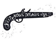 A silhueta da arma do pó no fundo branco com inscrição mantém seu pó seco Foto de Stock Royalty Free