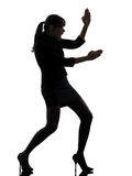 Silhueta da autodefesa do karaté da mulher de negócio Imagens de Stock Royalty Free