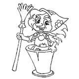 Silhueta da avó alegre Yaga em um almofariz com uma vassoura em sua mão, pintada nos quadrados e nos pixéis Para o projeto em Dia ilustração royalty free