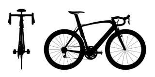 Silhueta 2in1 A da bicicleta das corridas de automóveis fotografia de stock