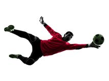 Silhueta da bola da captura do homem do goleiros do jogador de futebol Fotografia de Stock Royalty Free