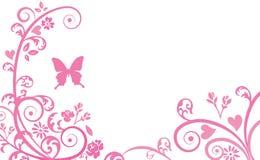 Silhueta da borboleta e das plantas Foto de Stock