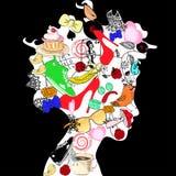 Silhueta da cabeça da mulher ilustração stock