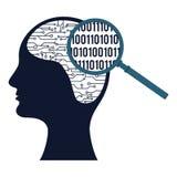 Silhueta da cabeça humana com circuito eletrônico Fotografia de Stock Royalty Free