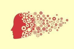 Silhueta da cabeça humana com grupo de engrenagem ilustração royalty free