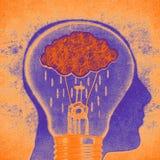 Silhueta da cabeça humana com ilustração digital da chuva e da ampola da nuvem fotografia de stock royalty free