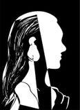 Silhueta da cabeça da mulher Perfil de uma moça bonita com cabelo longo Ilustração preto e branco do vetor Conceito da forma Fotos de Stock Royalty Free