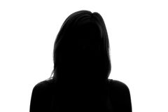 silhueta da cara de uma mulher em um fundo branco foto de stock royalty free