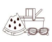 Silhueta da cesta do piquenique com parcela de melancia ilustração royalty free