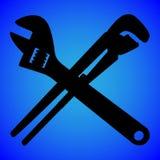 Silhueta da chave isolada na ilustração azul do vetor do fundo fotos de stock royalty free