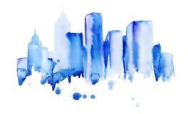 Silhueta da cidade da aquarela de New York Fotografia de Stock