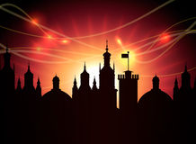 A silhueta da cidade da noite do vetor com espirra Ilustração do Vetor