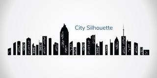 Silhueta da cidade do vetor Cidade da noite no fundo transparente Paisagem da cidade fotos de stock