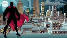 Silhueta da cidade da noite da posição do super-herói ilustração do vetor