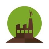 Silhueta da cor com contaminação da fábrica e do fumo ilustração royalty free