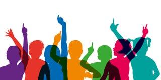 Silhueta da cor das crianças que levantam suas mãos, na escola ilustração royalty free
