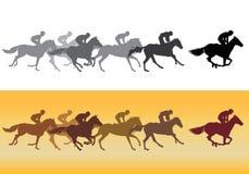 Silhueta da corrida de cavalos Imagens de Stock Royalty Free
